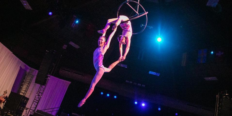 two girls doing acrobats